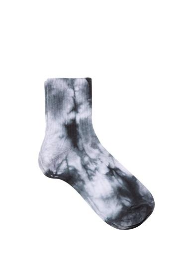 Mavi Batik Desenli  Soket Çorap Siyah